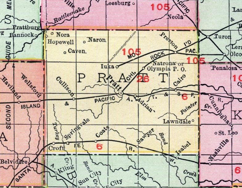 Pratt County, Kansas, 1911, Map, Pratt City, Coats, Iuka