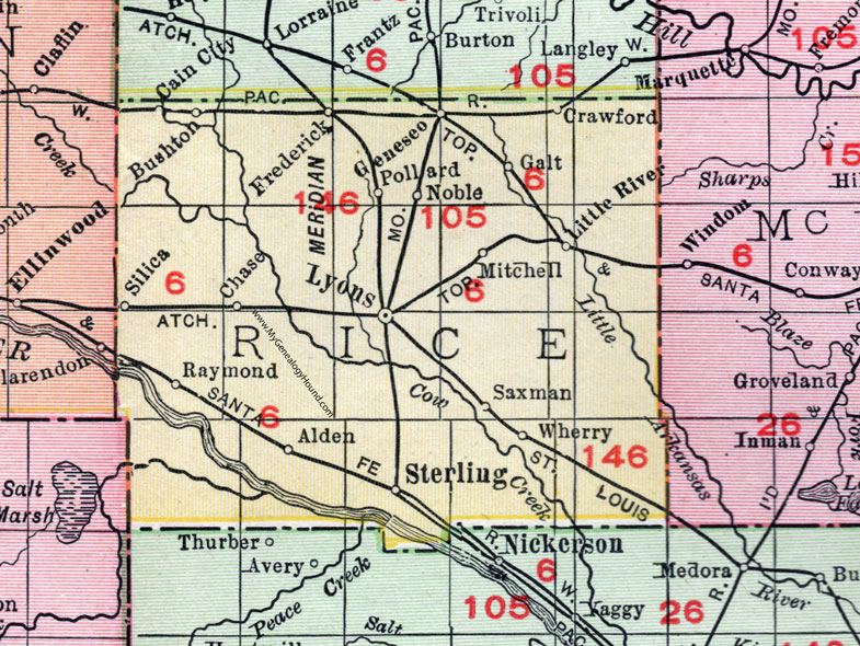 Rice County, Kansas, 1911, Map, Lyons, Sterling, Chase, Alden on