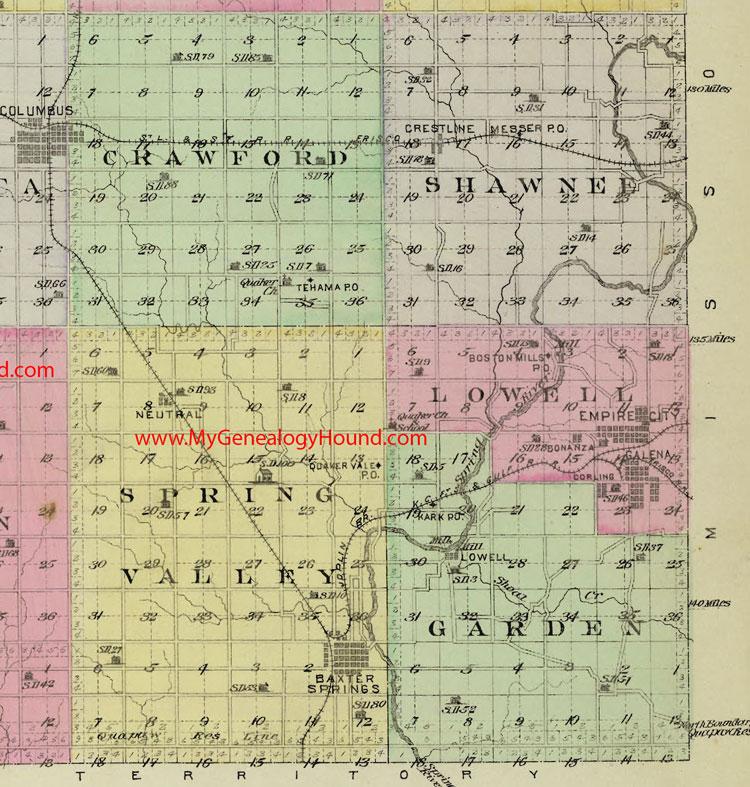 Southeast Cherokee County, Kansas 1887 Map