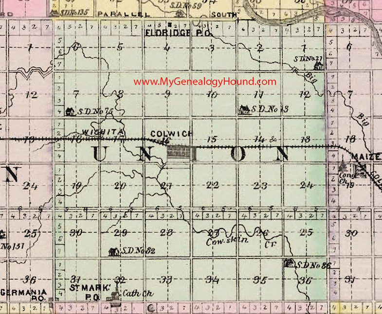 Union Township Sedgwick County Kansas 1887 Map