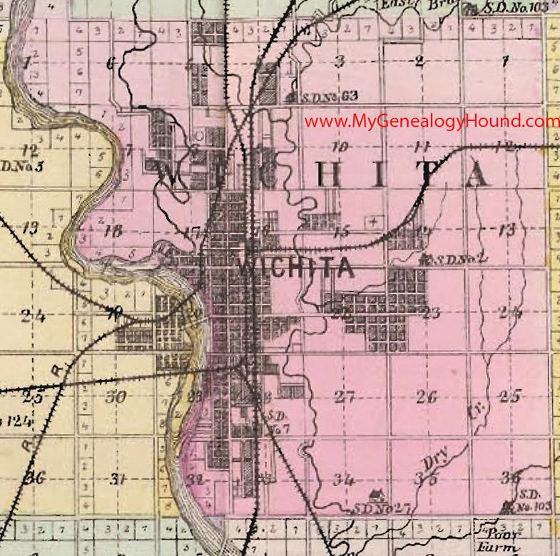 Wichita Township Sedgwick County Kansas 1887 Map