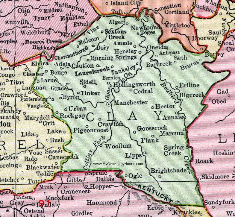 Clay County, Kentucky 1911 Rand McNally Map Manchester, Goose Rock ...