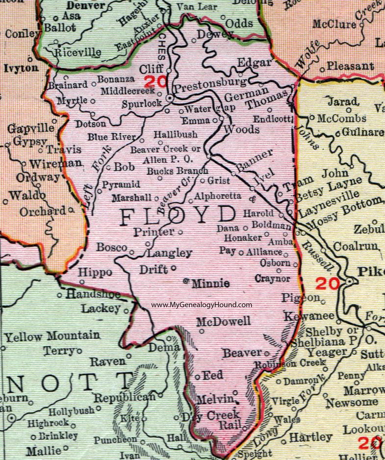 Floyd County Kentucky Rand McNally Map Prestonburg Allen - Kentucky city map