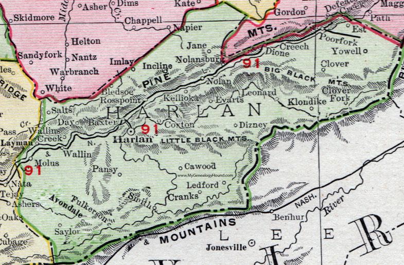 Harlan County Kentucky 1911 Rand McNally Map Cawood