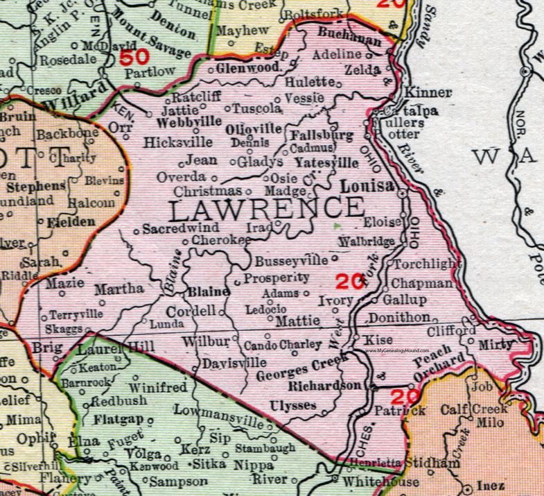Lawrence County Kentucky 1911 Rand McNally Map Louisa Fallsburg