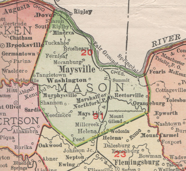 Mason County Kentucky 1911 Rand Mcnally Maysville Washington