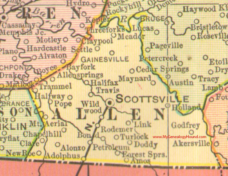 Allen County Kentucky 1905 Map Scottsville KY