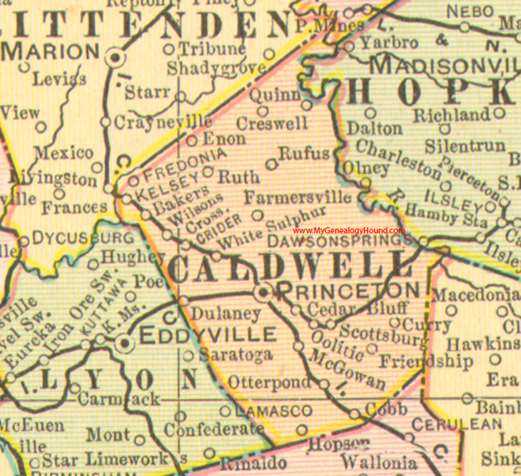 Caldwell County, Kentucky 1905 Map Princeton, KY on kentucky on a us map, kentucky national parks map, kentucky united states map,