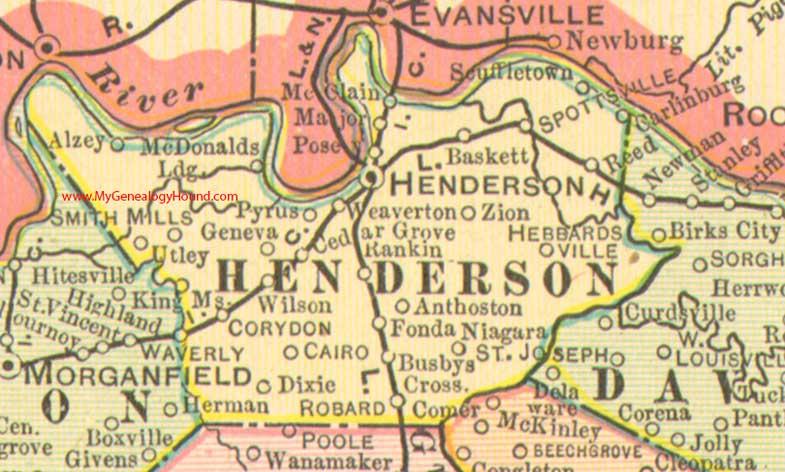 Henderson County Kentucky 1905 Map Morganfield
