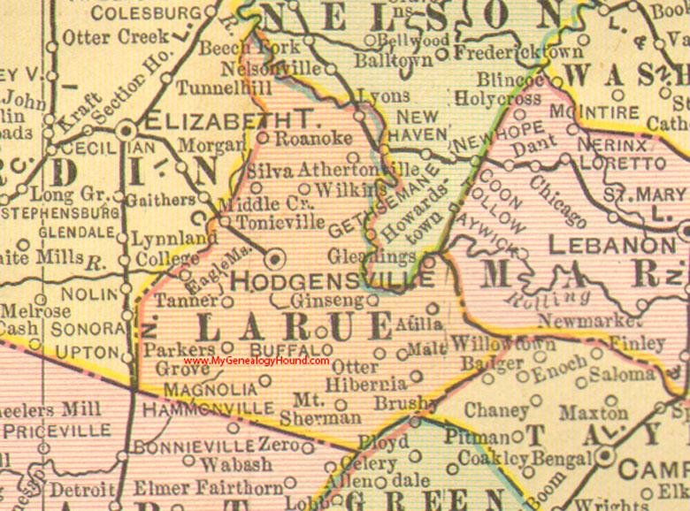 Larue County, Kentucky 1905 Map Hodgensville, KY