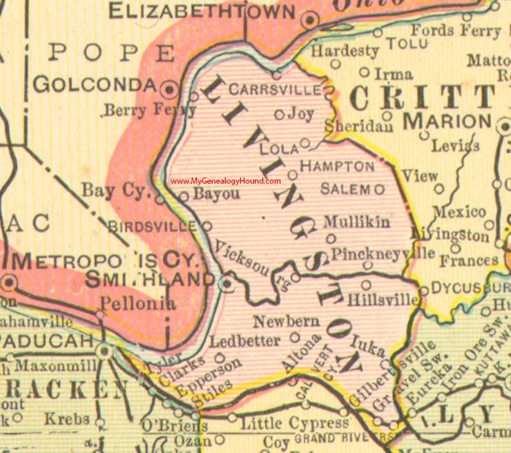 Livingston County Kentucky 1905 Map Smithland