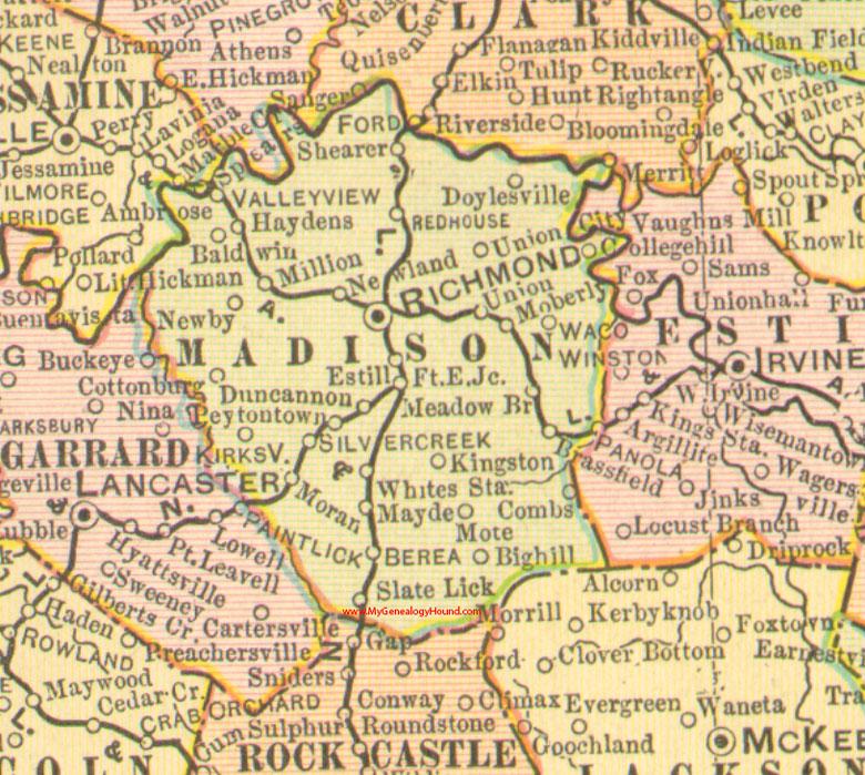 Madison County Kentucky 1905 Map Richmond KY