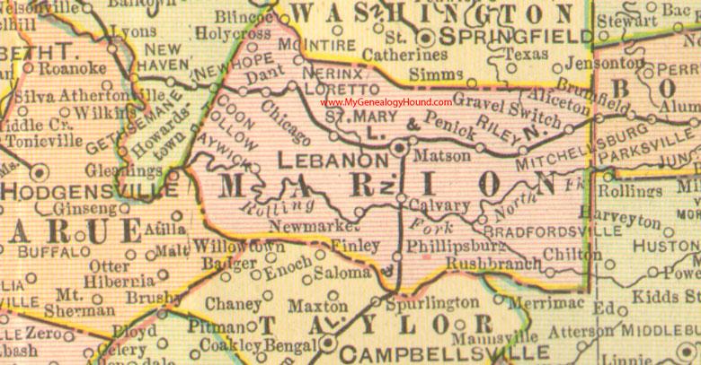 Marion County, Kentucky 1905 Map Lebanon, KY