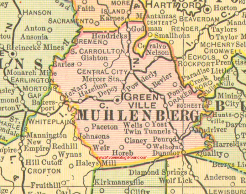 Muhlenberg County Kentucky Map Madisonville KY - Kentucky city map