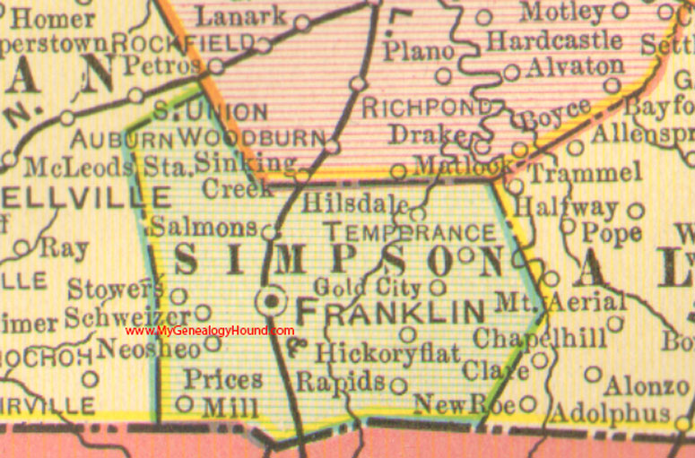 Simpson County Kentucky Vintage Map Franklin KY - Kentucky city map