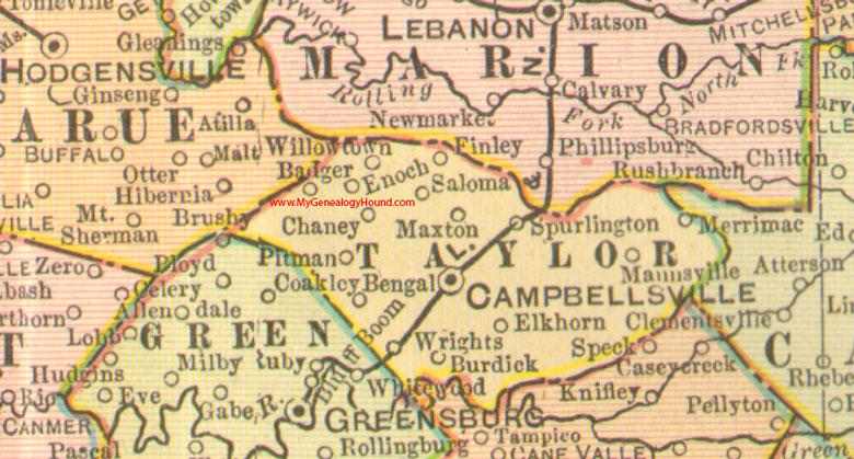 Taylor County Kentucky 1905 Map Campbellsville KY
