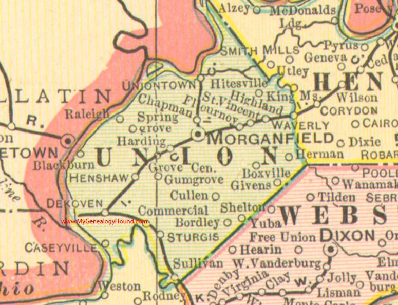 Union County, Kentucky 1905 Map Morganfield