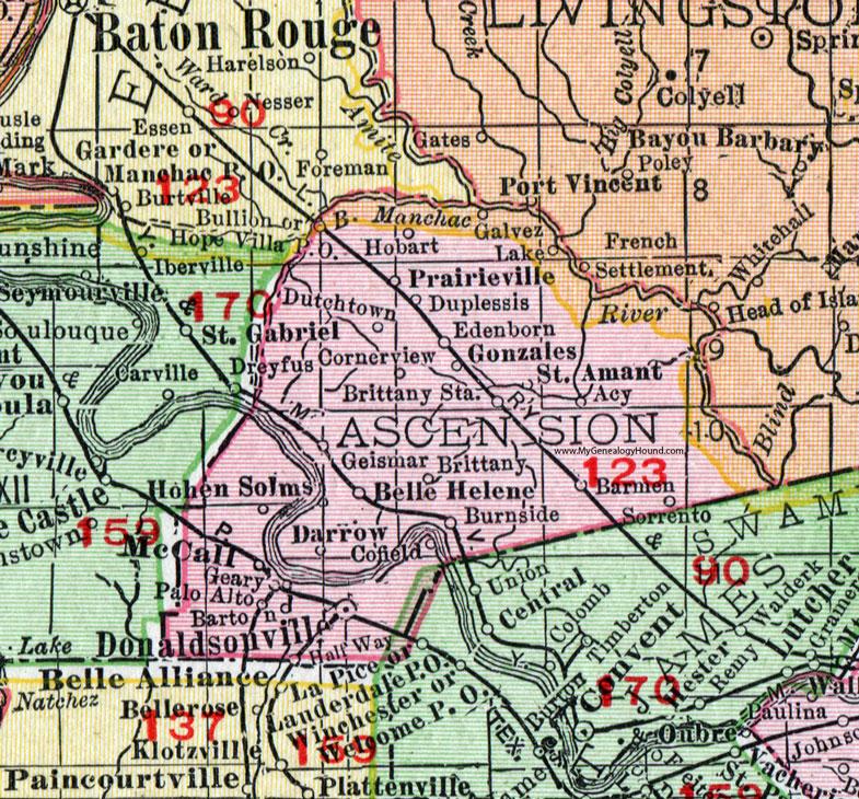 Darrow Louisiana Map.Ascension Parish Louisiana 1911 Map Rand Mcnally Donaldsonville