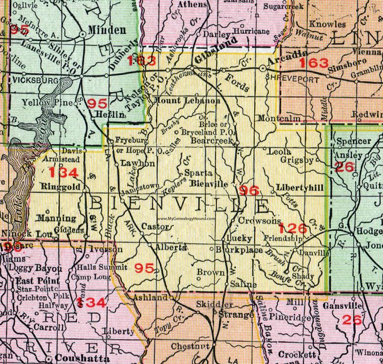 Bienville Parish Louisiana 1911 Map Rand Mcnally Arcadia