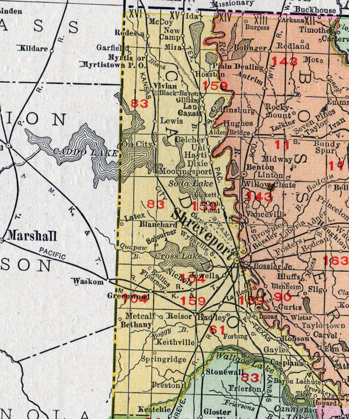 Parish Louisiana 1911 Map Rand McNally Shreveport Belcher