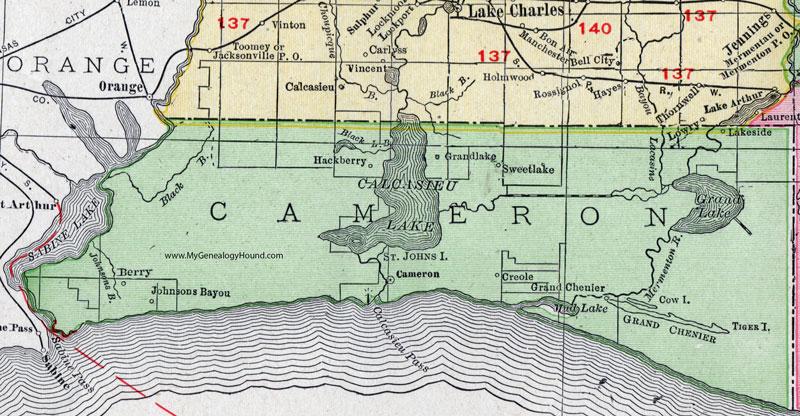 Cameron Parish Louisiana 1911 Map Rand Mcnally City Of Cameron