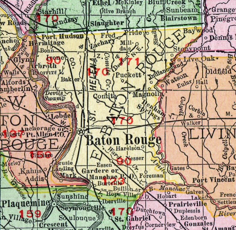 East Baton Rouge Parish Louisiana 1911 Map Rand Mcnally City Of Baton Rouge Baker Zachary Port