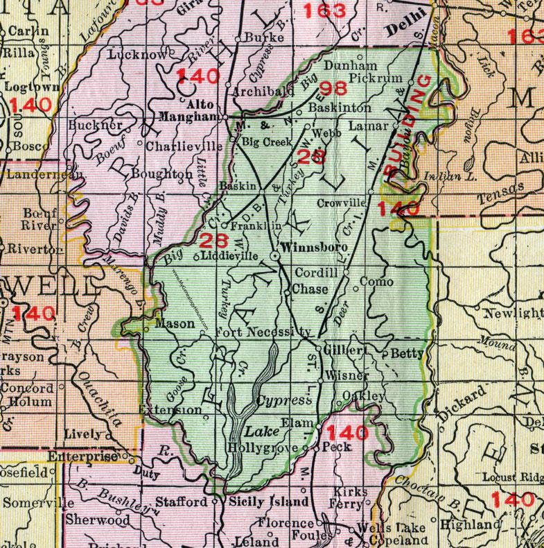 Franklin Parish Louisiana 1911 Map Rand Mcnally Winnsboro