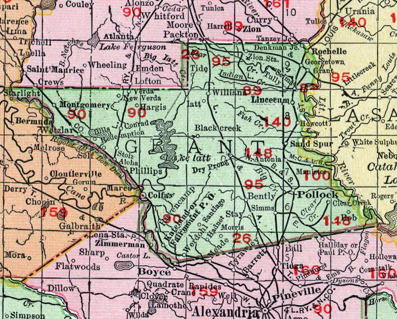 Grant Parish, Louisiana, 1911, Map, Rand McNally, Colfax ... on michigan's map, la city map, missouri's map, indiana's map, kentucky's map, oklahoma's map, mississippi's map, nevada's map, new mexico's map, maryland's map,