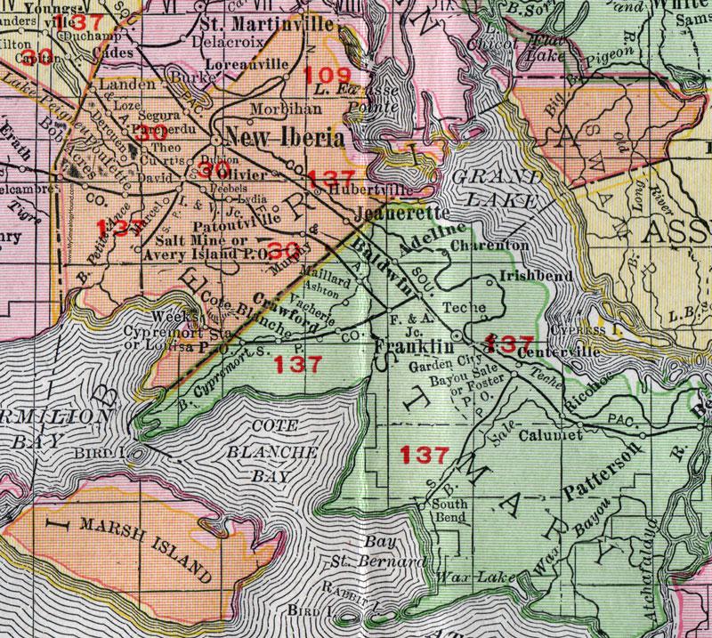 New Iberia Louisiana Map.Iberia Parish Louisiana 1911 Map Rand Mcnally New Iberia