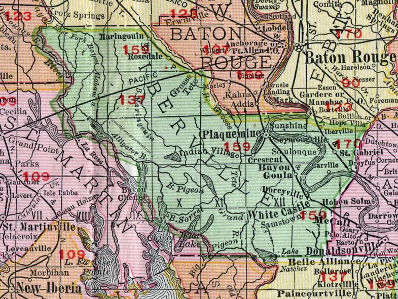 Darrow Louisiana Map.Iberville Parish Louisiana 1911 Map Rand Mcnally Plaquemine