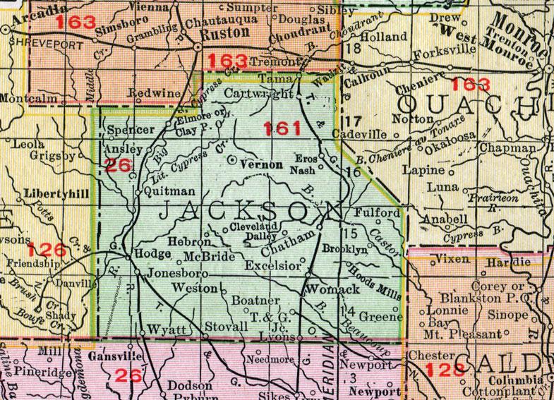 Jackson Parish Louisiana 1911 Map Rand Mcnally Jonesboro