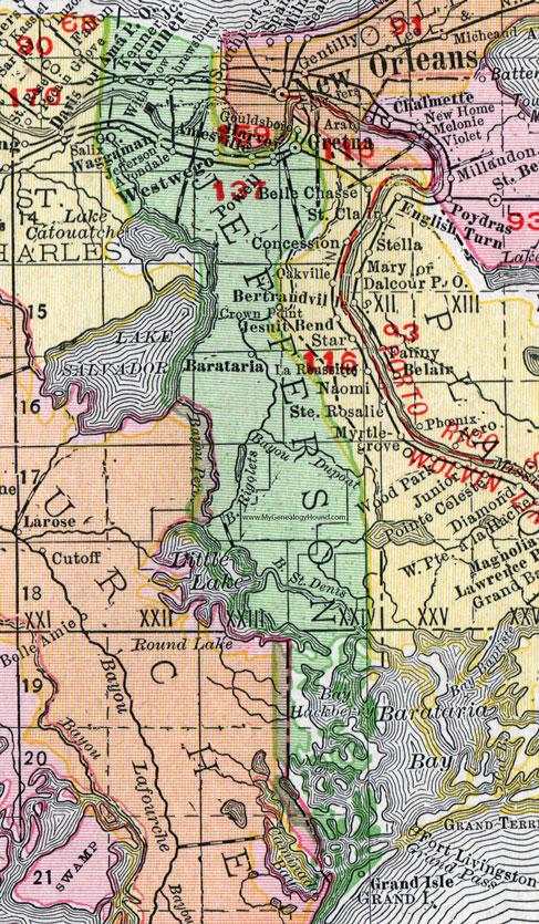 Harvey Louisiana Map.Jefferson Parish Louisiana 1911 Map Rand Mcnally Gretna Kenner