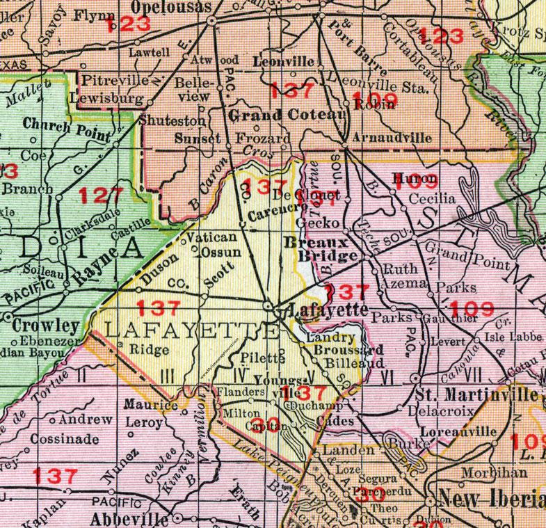 Parish Louisiana 1911 Map Rand McNally City of Lafayette