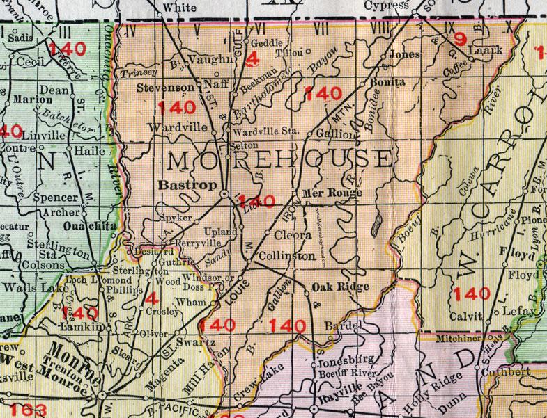 Morehouse Parish Louisiana 1911 Map Rand McNally Bastrop