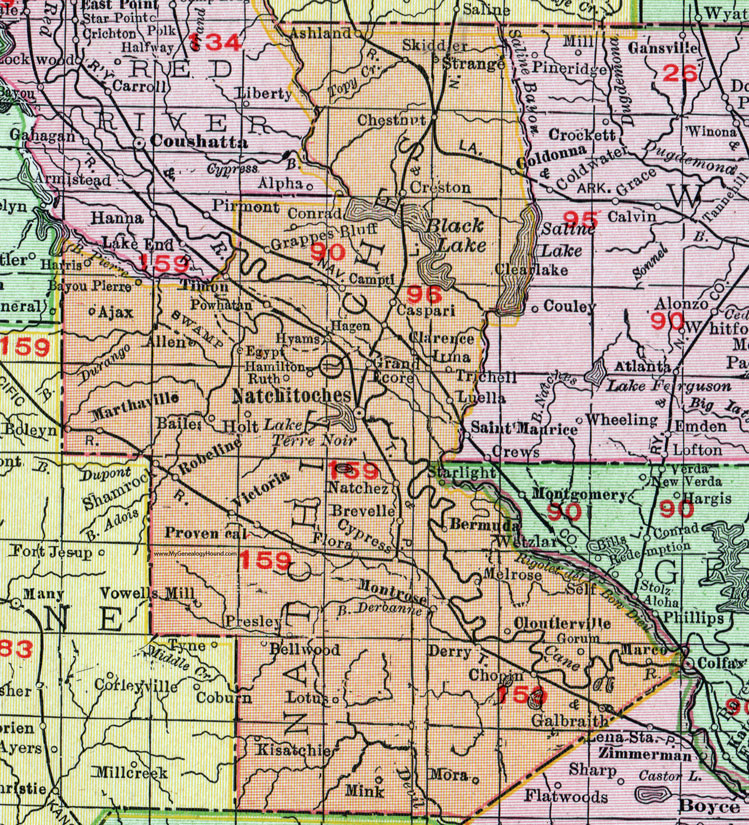 Natchitoches Parish Louisiana 1911 Map Rand Mcnally City Of