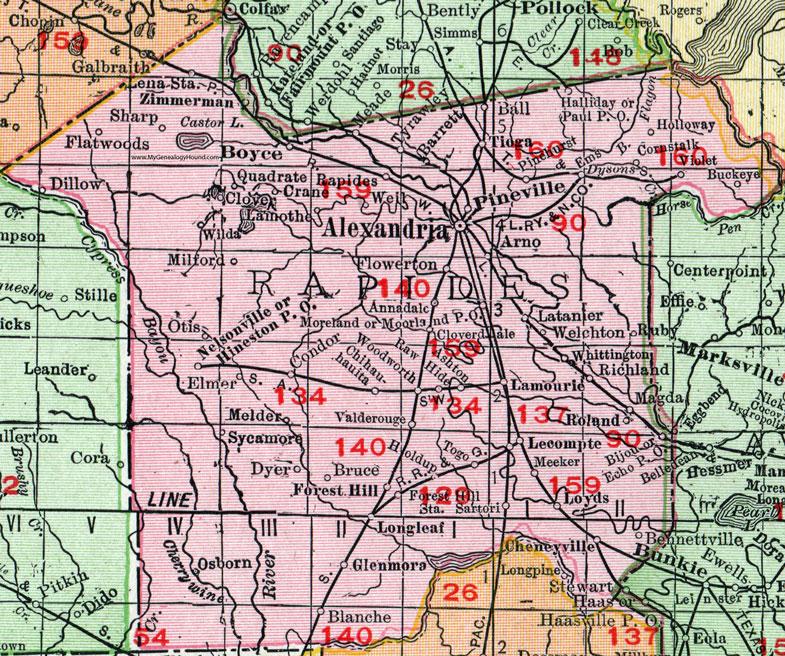 Parish Louisiana Map Rand McNally Alexandria Boyce - Louisiana map alexandria