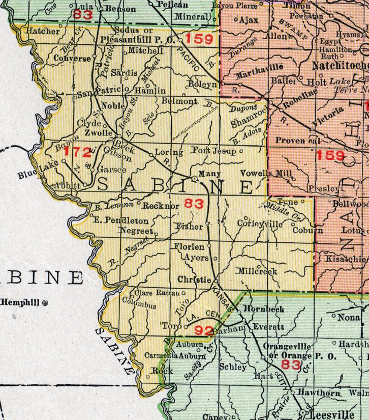 Parish Louisiana 1911 Map Rand McNally Many Zwolle Converse