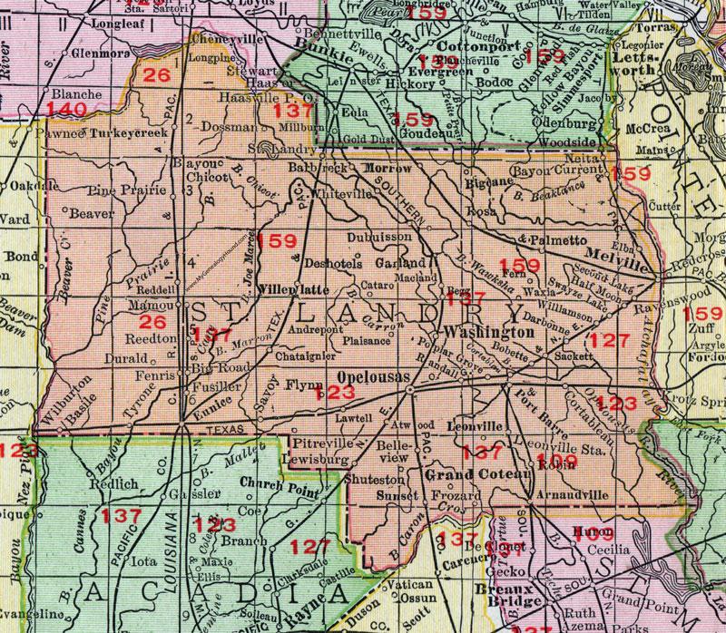 Opelousas Louisiana Map.St Landry Parish Louisiana 1911 Map Rand Mcnally Opelousas