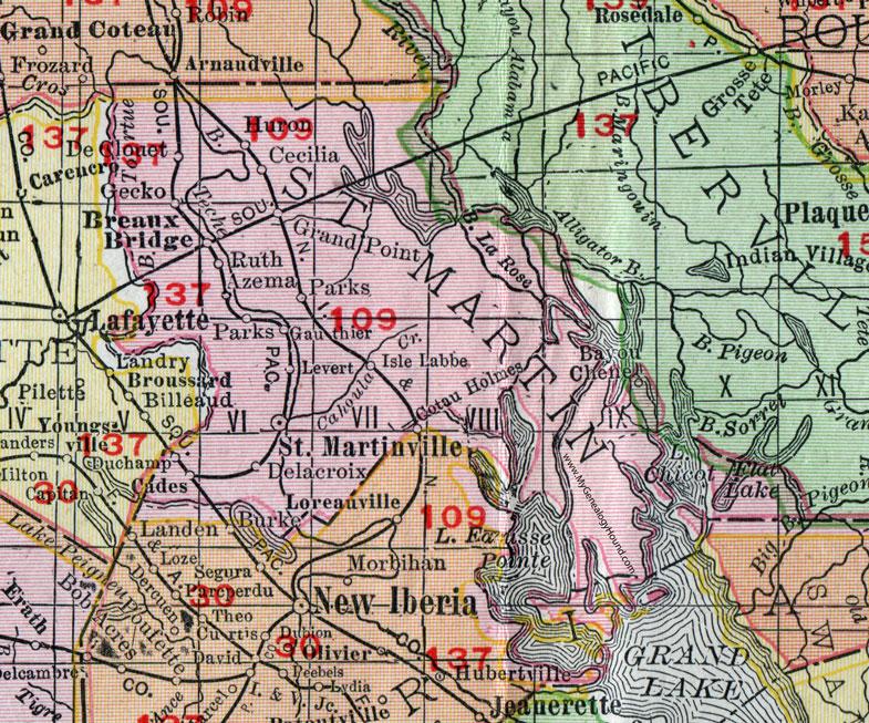 map of st martinville louisiana St Martin Parish Louisiana 1911 Map Rand Mcnally St map of st martinville louisiana