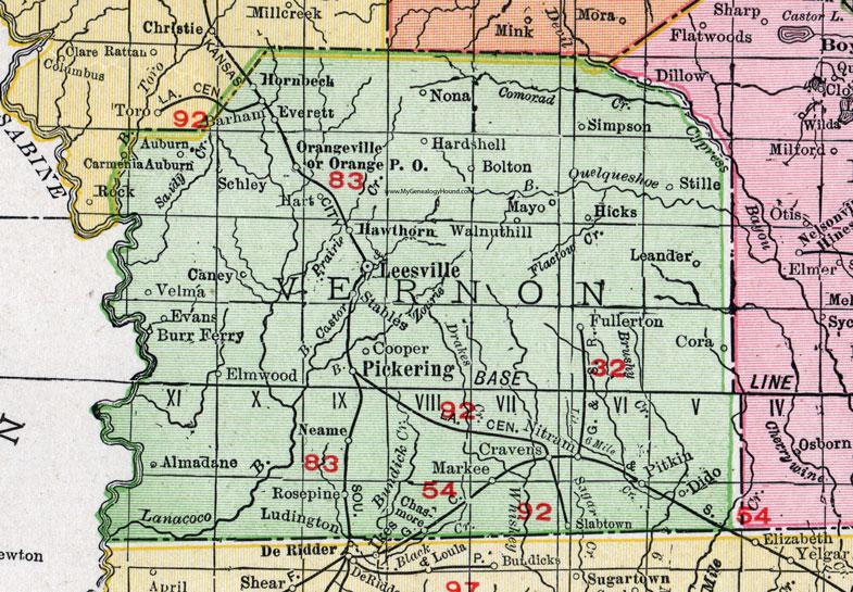 Vernon Parish Louisiana 1911 Map Rand Mcnally Leesville