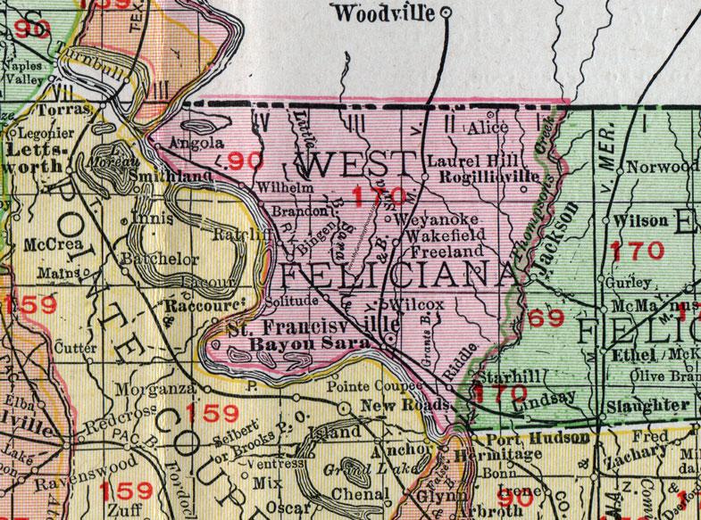 Map Of Louisiana Bayou.West Feliciana Parish Louisiana 1911 Map Rand Mcnally St