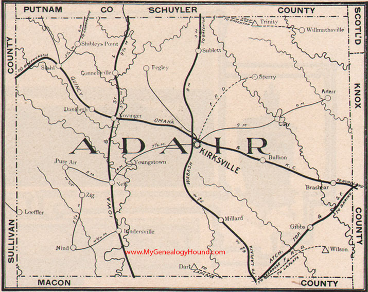 Adair County Missouri Map