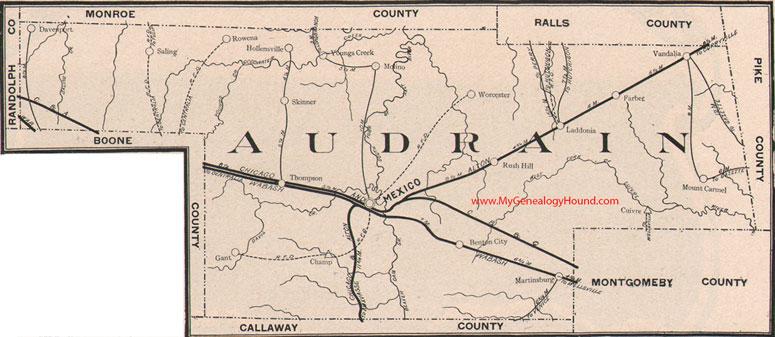 Audrain County Missouri 1904 Map