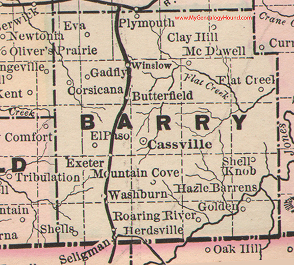 Barry County Missouri 1886 Map