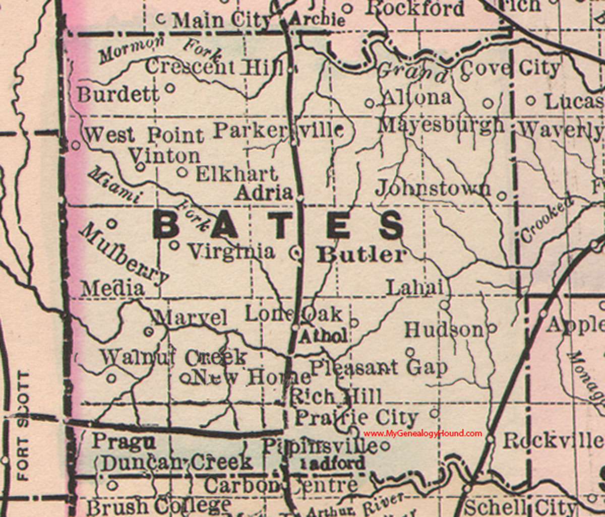 Bates County, Missouri 1886 Map