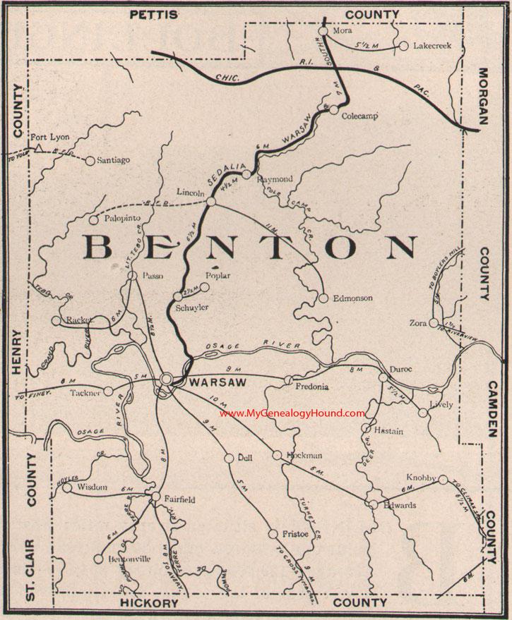 Benton County Missouri Map - Mo county map