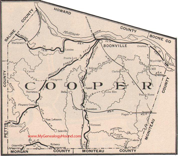 Sedalia Missouri Map.Cooper County Missouri 1904 Map