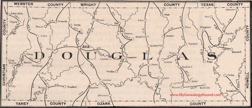 Douglas County, Missouri 1904 Map
