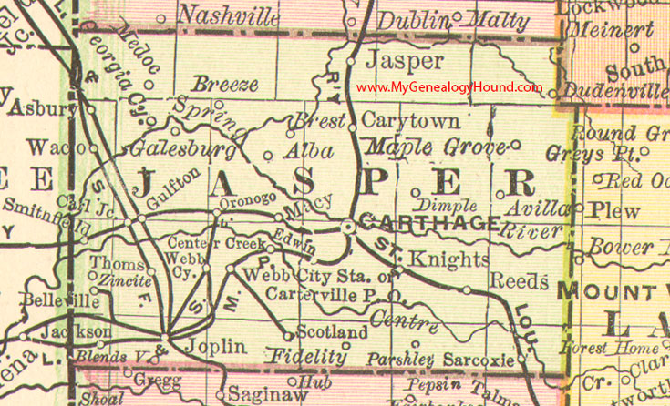 Jasper Georgia Map.Jasper County Missouri 1888 Map