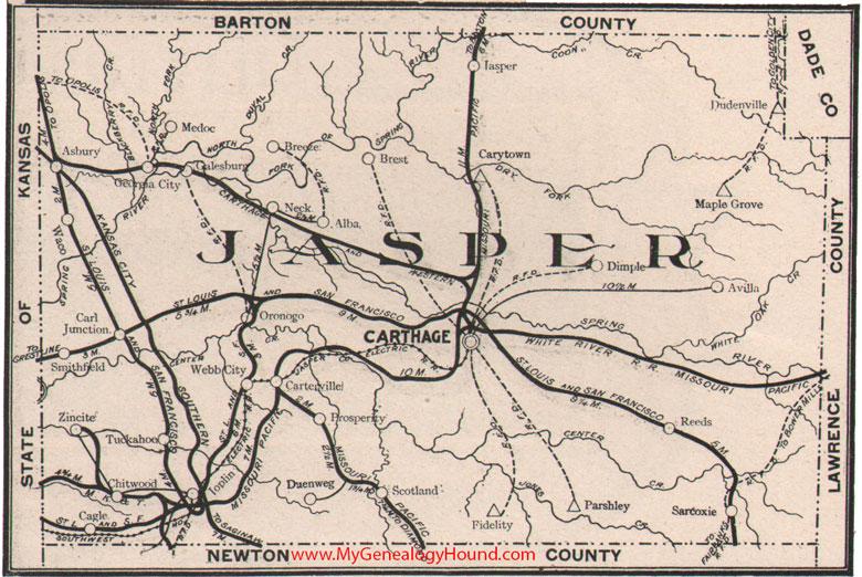 Jasper County Missouri 1904 Map